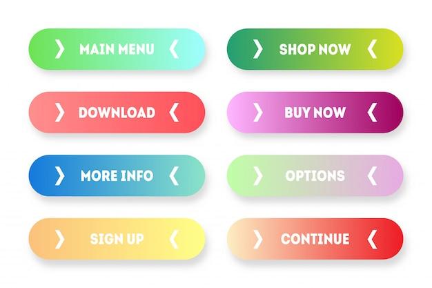 モダンなグラデーションアプリまたはゲームボタンのベクトルを設定します。矢印付きのユーザーインターフェイスwebボタン:メニュー、今すぐ購入、購入、ダウンロードなど