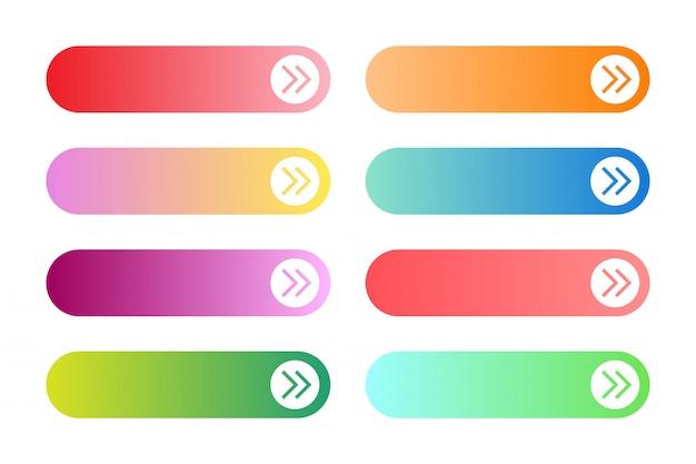 モダンなグラデーションアプリまたはゲームボタンのベクトルを設定します。