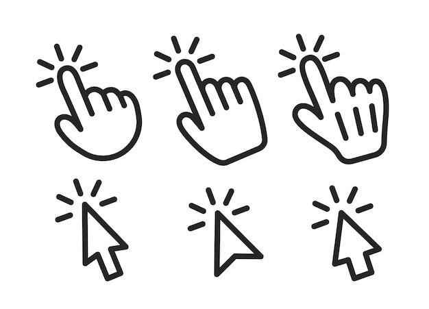 마우스 커서와 가리키는 손의 벡터 집합입니다. 아이콘, 가리키는 손의 표시 및 마우스 커서.