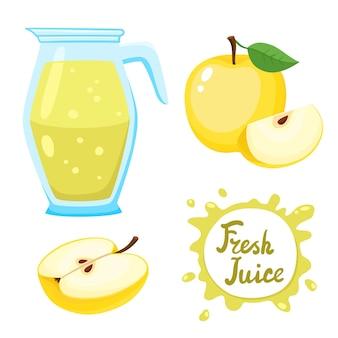 漫画のスタイルで白に分離された瓶と黄色いリンゴの自然な新鮮なaplleジュースのベクトルセット。健康的なオーガニックフルーツ飲料。