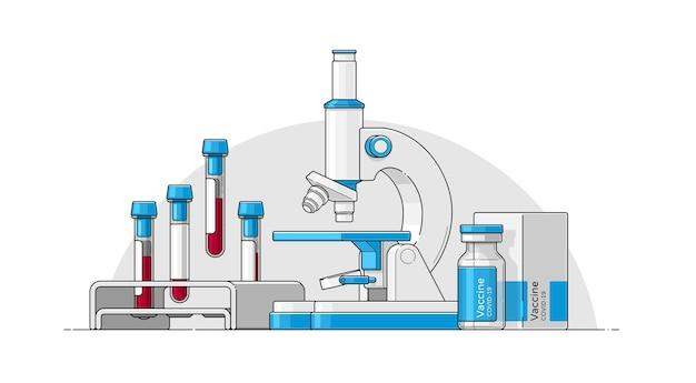 Векторный набор объектов в плоском стиле с контуром для медицинской инфографики