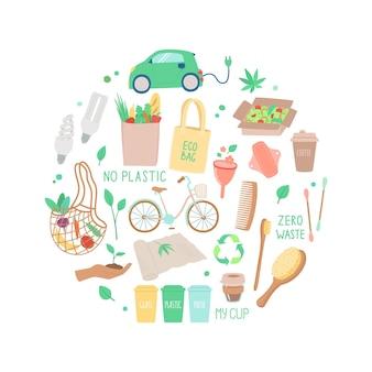 Векторный набор объектов концепция экологии handdrawn иллюстрации