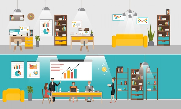 フラットスタイルのデザインでオフィスインテリアバナーのベクトルを設定します。ビジネスマンや会社員。