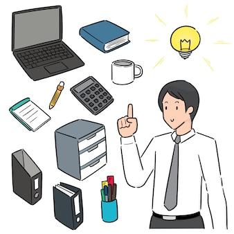 회사원 및 사무 기기 벡터 세트