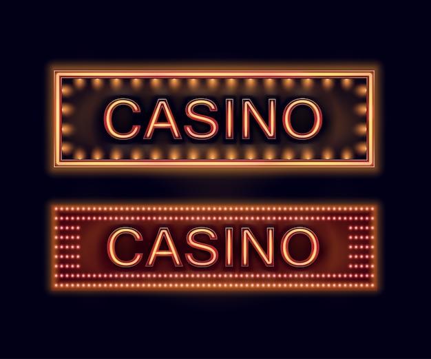 ポスター、チラシ、看板、ウェブサイト、黒い背景で隔離のギャンブルクラブのオレンジ色に照らされたカジノ看板のベクトルセット