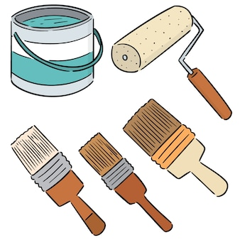 페인트 통 및 페인트 브러시의 벡터 세트