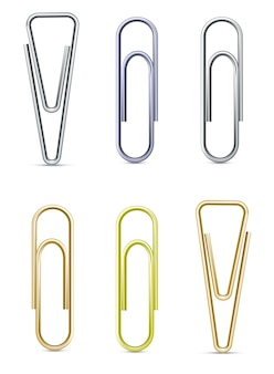 클립의 벡터 세트 - 은, 황동, 금