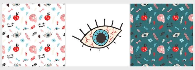 평평한 스타일의 해골 문신 뼈 사과 눈이 있는 패턴 및 포스터의 벡터 세트