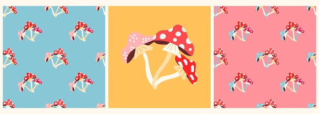 평평한 현대적인 스타일의 버섯파리가 있는 벡터 패턴 및 포스터 세트