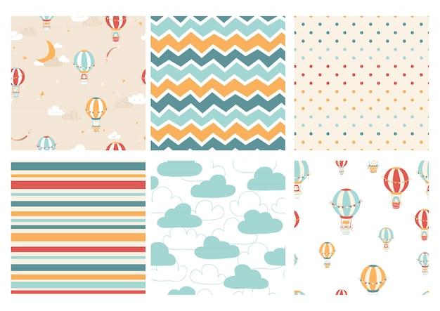 風船でかわいい子供たちの文字のパターンのベクトルを設定します。