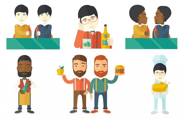 Векторный набор людей еды и питья.