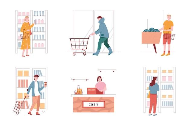 スーパーマーケット店の人々のベクトルセット。女性と男性のキャラクターが食料品を購入します。孤立したイラスト。女性は棚から化粧品を取ります。チェックアウトカウンター、レジ係。