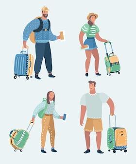 여행 하는 사람들의 벡터 세트