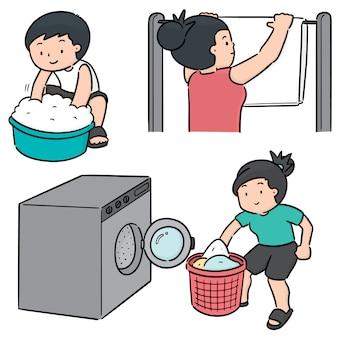 Векторный набор людей, стирающих одежду