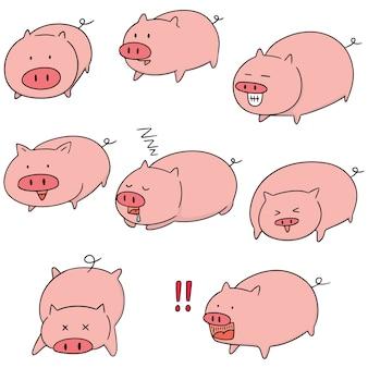 豚のベクトルセット