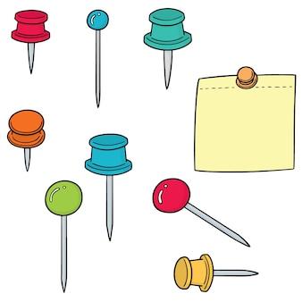 Векторный набор булавки и записной книжки