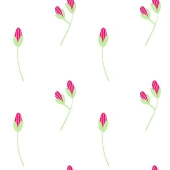 白い背景の上の緑の葉とピンクのカモミールの花のベクトルセット夏春秋シームレスパターン