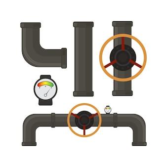 파이프 시스템 부품의 벡터 집합입니다. 플라스틱 파이프, 누출 밸브, 물방울.