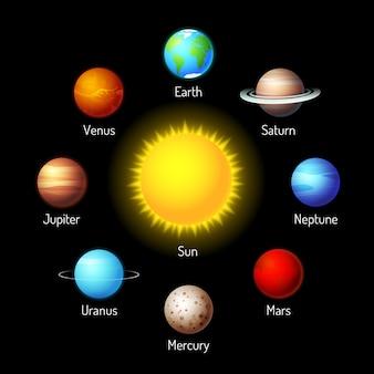 惑星のベクトルセット。周りに惑星がある太陽系