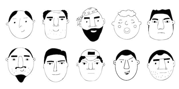 사람들의 초상화의 벡터 집합입니다. 다양한 연령대의 재미있는 최소한의 남자 캐릭터를 만화로 만드세요. 다른 감정과 기분을 가진 남성 얼굴의 그림. 프리미엄 벡터