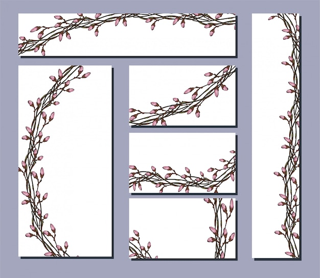 꽃 장식 된 엽서 전단지의 벡터 집합입니다.
