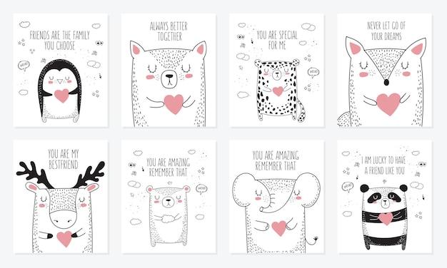 동물과 친구에 대한 슬로건이 있는 엽서 세트. 낙서 그림입니다. 우정의 날, 발렌타인, 기념일, 베이비 샤워, 생일, 어린이 파티