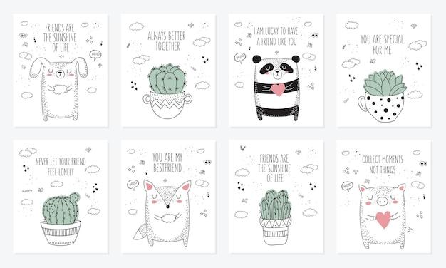 친구 낙서 그림에 대한 동물과 슬로건이 있는 엽서 벡터 세트