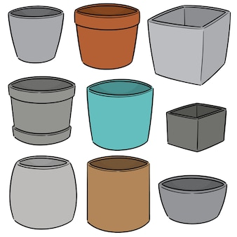 Vector set of pots