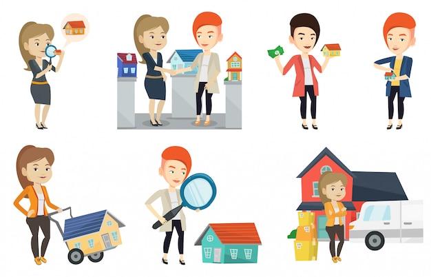 不動産業者と家の所有者のベクトルを設定します。
