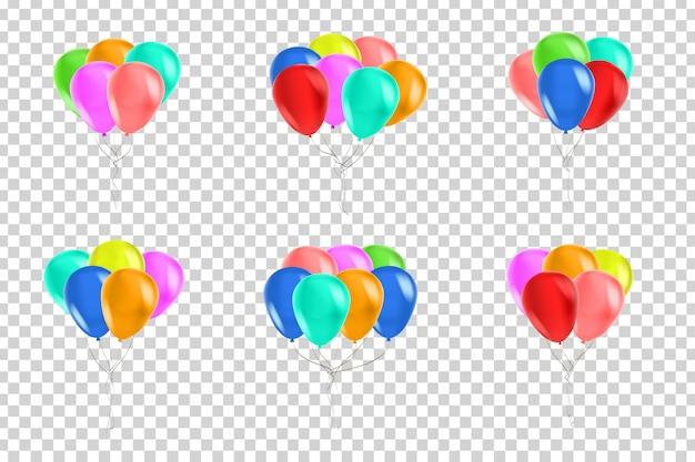 お祝いや透明な空間の装飾のための現実的な分離風船のベクトルを設定します。お誕生日おめでとう、記念日、結婚式のコンセプトです。