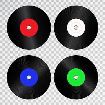 Векторный набор реалистичных изолированных ретро виниловых пластинок для украшения и покрытия на прозрачном пространстве.