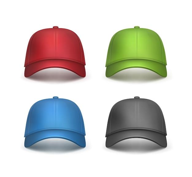 Векторный набор реалистичных красных, черных, зеленых, синих бейсболок, вид спереди, изолированные на белом фоне