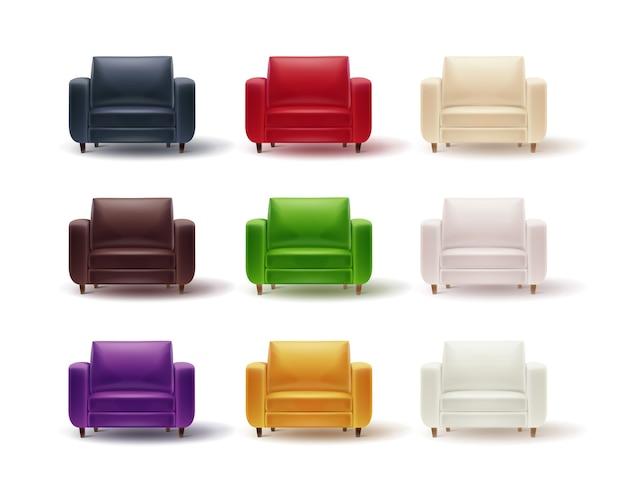 흰색 배경에 고립 된 가정 또는 사무실 인테리어를위한 빨강, 갈색, 흰색, 보라색, 녹색, 회색, 노란색 안락 의자의 벡터 세트