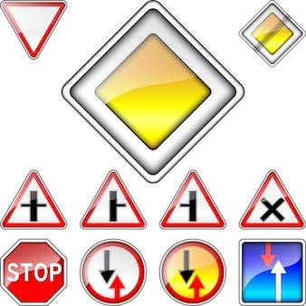 Векторный набор приоритета дорожных знаков