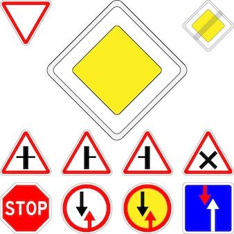 Векторный набор приоритета дорожных знаков Premium векторы