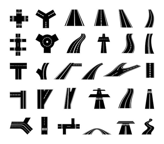 Векторный набор дорог и перекрестков.