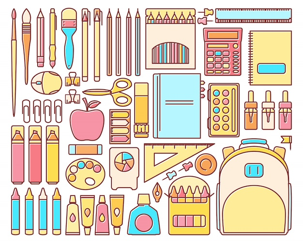 Векторный набор школьных принадлежностей в современном плоском линейном стиле
