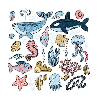 바다 동물의 벡터 세트 프리미엄 벡터