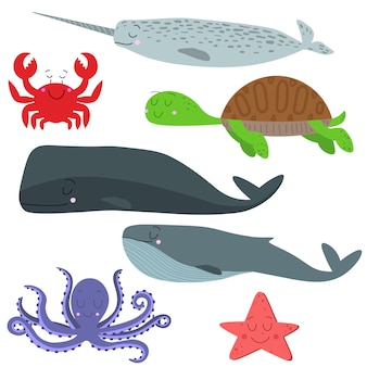 Векторный набор морских животных