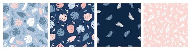 青とピンクの熱帯の葉植物花のシームレスなパターンのベクトルセット