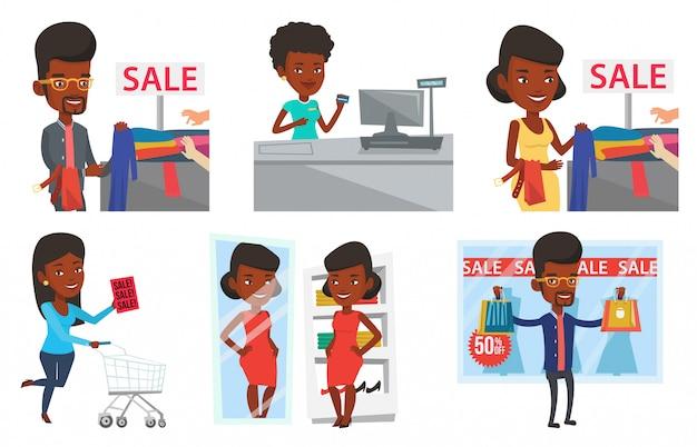 ショッピングの人々のキャラクターのベクトルを設定します。