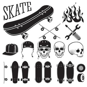スケートボードデザイナー要素のベクトルを設定します。スケートと炎、スカル、ヘルメット、キャップ。