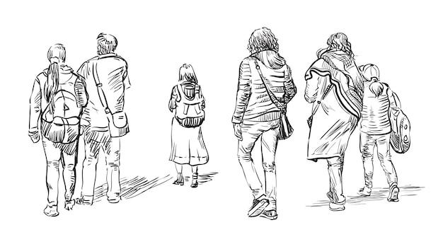 흰색 배경에 고립 된 검은 색으로 걷는 사람들을 그리는 스케치 손의 벡터 집합입니다. 벡터 일러스트 레이 션.