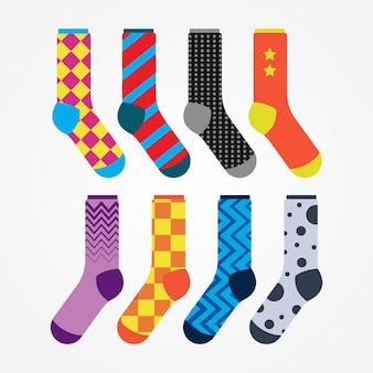 Vector set of socks with different patterns