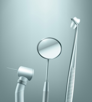 Векторный набор нержавеющих стоматологических инструментов зеркало, дрель и щипцы с видом сбоку зуб на фоне