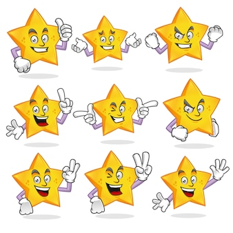 Vector set of star mascot