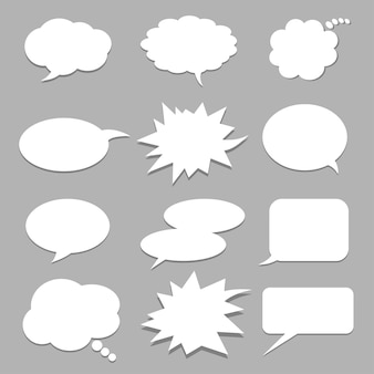 Vector set of stickers of speech bubbles