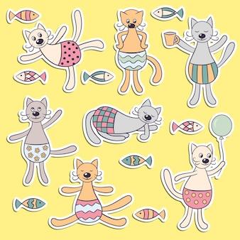 デザインと装飾のための面白い漫画かわいい猫とステッカーのベクトルセット