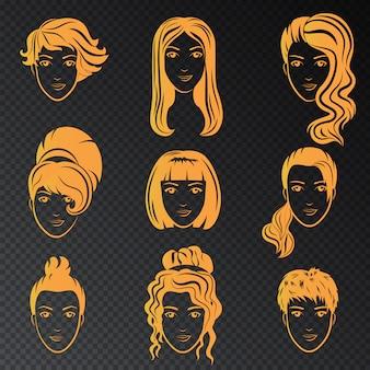 양식에 일치시키는 아름 다운 여성 헤어 스타일의 벡터 집합입니다. 세련된 헤어 스타일의 황금 패션 세련된 컬렉션.