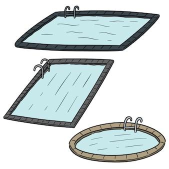 Векторный набор плавательных бассейнов